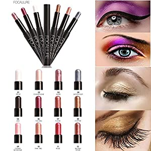 Beauty Eyeshadow Pencil Hosamtel Glitter Neutral Makeup Highlighter Eye Shadow Cosmetic Eyeliner Pen Make Up Tool (12 Colors for Choice) (#5)