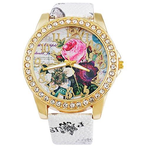 Flower Print Watch - Loweryeah Women Casual Watch Flower Print Rhinestone Around Dial Quartz Watch with Artificial Leather Strap Band White