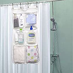 Shower Curtain Caddy 6 Pockets Loading 25LB - Quick Dry Shower Rod Mesh Hanging Organizer