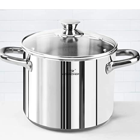 Amazon.com: HOMI CHEF - Olla de acero inoxidable pulido mate ...