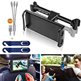 Car Headrest Tablet Mount, Extremade Car iPad Holder for iPad, Samsung Galaxy Tabs, Nintendo Switch, iPhone, Smartphones, Tablets and Other Devices 4'-11' Car Rear Back Seat Stand Cradle