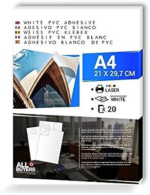 Papel Adhesivo Blanca PVC polipropileno A4 (21 cm X 29,7 cm) hojas ...