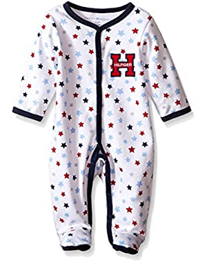 Tommy Hilfiger Baby Boys' Star Printed Interlock Footed Sleeper