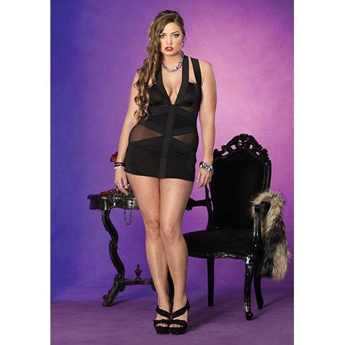 Leg Avenue Women's Plus Size Spandex Strappy Elastic Band Dress With Mesh Panel, Black, 3X-4X (Spandex Strappy Elastic Band Dress With Mesh Panel)