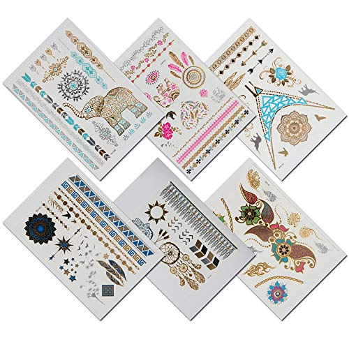TempiTats Thea Flash Tattoo Collection - Temporary Boho Metallic Henna Tattoos (6 Sheets). Trendy Festival Accessories and Great for Bachelorette, Birthday or Costume Parties for Men or Women. -