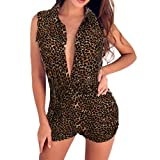 Fanteecy Rompers Women Leopard Printed Shorts Sexy V Neck Turn-Down Collar Sleeveless Jumpsuit Playsuit Beach Party Clubwear (Yellow, XL)