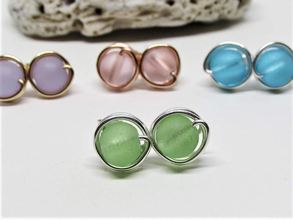 Sterling Silver Gift for Teen Girl Tiny Wire-Wrapped Sea Glass Stud Earrings 10 Colors 14K Gold Filled or 14K Rose Gold