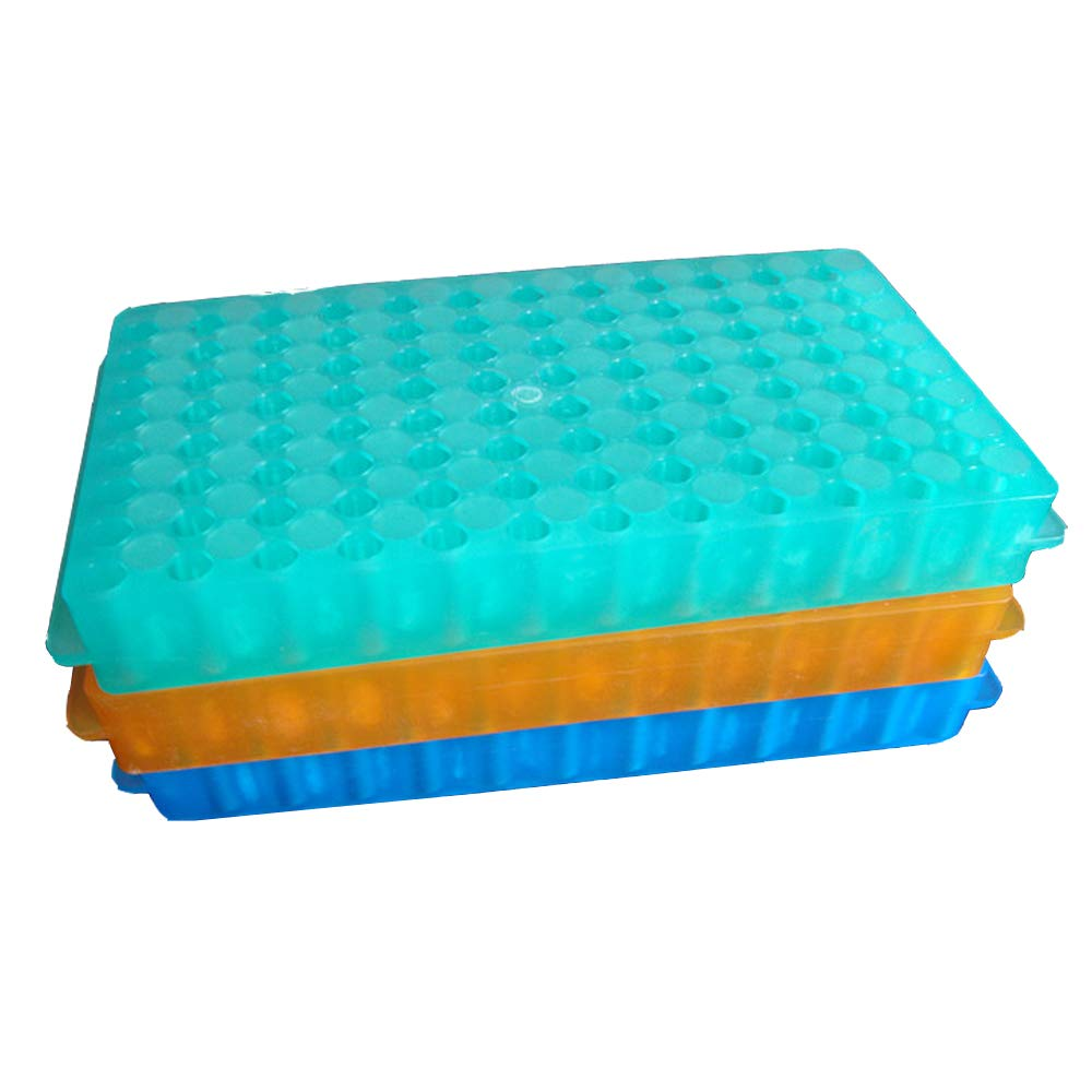 PUL FACTORY Polypropylene Microcentrifuge PCR Tube Rack, 96-Well,Assorted Colors, Pack of 3
