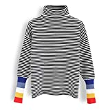 Chicwish Women's Comfy Casual Color Blocked Cuffs Stripe Turtleneck Soft Knit Sweater Pullover