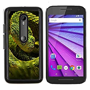 EJOOY---Cubierta de la caja de protección para la piel dura ** Motorola MOTO G3 / Moto G (3nd Generation) ** --Enfriar verde de neón de la serpiente