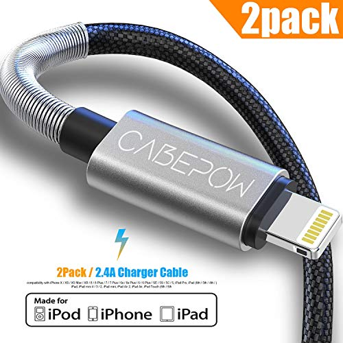 [ Apple MFi Certified ] iPhone Charger 6ft, CABEPOW 6 Foot Long Lightning Charger Cable, High-Speed iPhone Cord with Premium Metal Connector for iPhone 11/11Pro/11Max/ X/XS/XR/XS Max/8/7/6/5S/SE