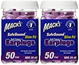 Mack's Ear Care Slim Fit Soft Foam Earplugs, 50 Count (Pack of 2)