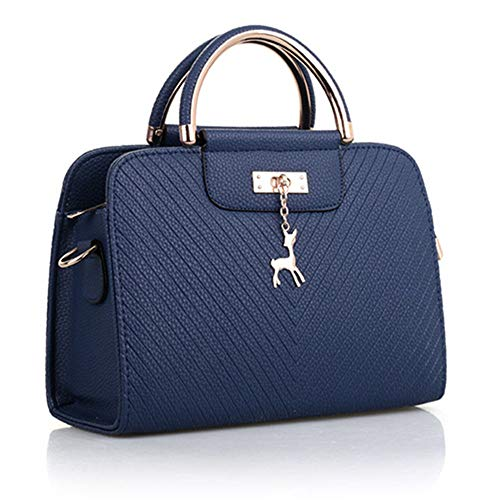 Women Leather Bag Large Capacity Shoulder Simple Top-handle Hand Bags Deer Decor 宝蓝色 261120