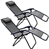 Tahoe Gear Zero Gravity Yard Lounge Patio Lawn Recliner Chairs, Black (2 Pack)