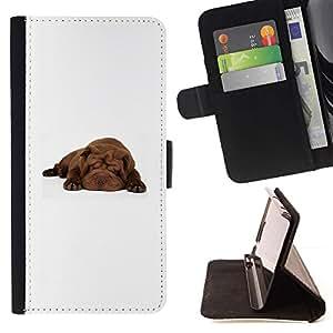 Momo Phone Case / Flip Funda de Cuero Case Cover - Shar Pei dormir del perro de perrito de Brown; - Sony Xperia Z3 Compact