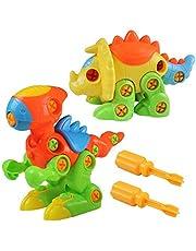 deAO Dinosaurios de Juguete Conjunto de 2 Figuras para Montar y Desmontar Muñecos Puzle Incluye Destornilladores