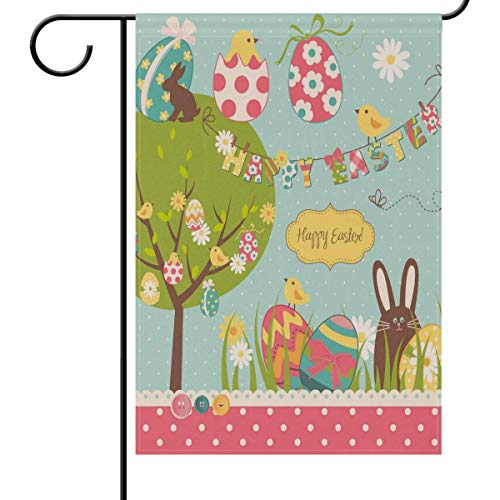 (HOOSUNFlagrbfa Easter Chocolate Rabbit Eggs Chicks Garden Yard Flag Banner House Home Decor 12 x 18 inch, Small Mini Decorative Double Sided Welcome Flags for Holiday Wedding Party Outdoor Outside )