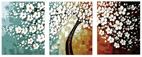 (Wowdecor Paint by Numbers Kits for Adults Kids, Painting by Numbers 3 Pieces Pack - Beautiful White Plum Blossom Tree 16x20x3P inches (With Frame))
