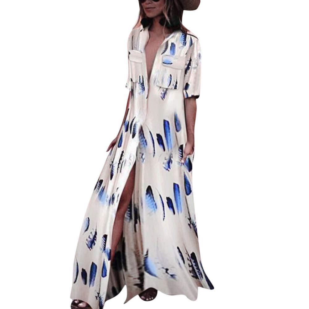 Hot Sale Women Long Dress DEATU Ladies Fashion Feathers Print Half Sleeve Sexy Bohemian Long Dress with Pockets(Beige,M)