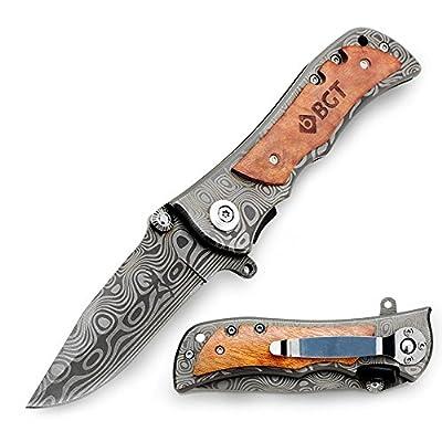 BGT Classical Tactical Knife Damascus Pattern Steel Liner Lock Folding Pocket Knives For Hunting Outdoor With Velvet Bag