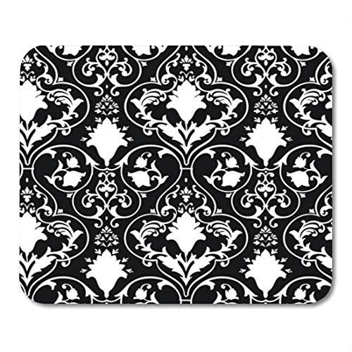 Semtomn Gaming Mouse Pad Fleur Antique Scroll Wallpaper Lis Black White Damask Pattern Background 9.5