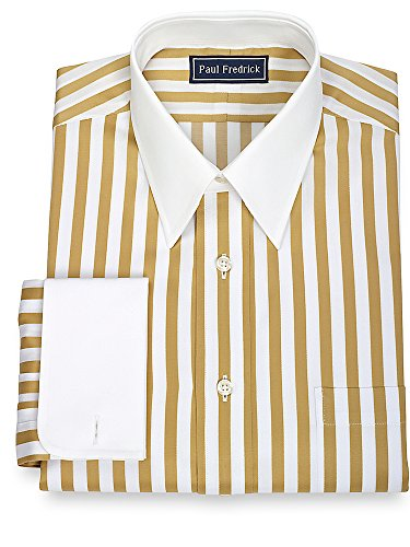 Paul Fredrick Men's Cotton Bold Satin Stripe Dress Shirt Gold 16.5/34 Bold Stripe Cotton Shirt