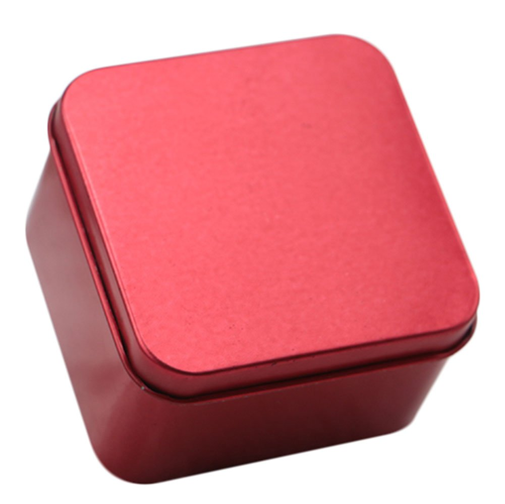Leisial Petite Boîte de Rangement en Métal de Forme Carré Stockage de Bonbons Boîte en Fer Blanc à Lèvres pour Thé Chocolat Biscuits(Bleu)