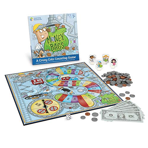 Learning Resources Money Bags Coin Value Game, Money Recognition, Counting Game, Ages 7+ -