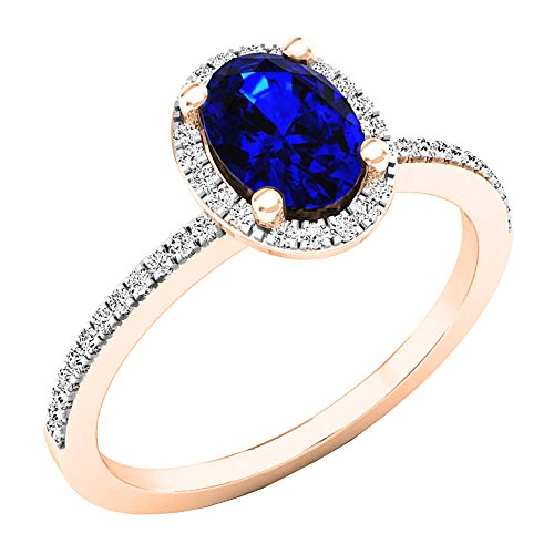 Dazzlingrock Collection 18K 7X5 MM Oval Blue Sapphire & Round Diamond Bridal Halo Engagement Ring, Rose Gold, Size 10 ()