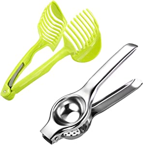 Set of 2 Lemon Squeezer,Citrus Juicer, Tomato Lemon Slicer Holder, Multipurpose Handheld Round Fruit Tongs Slicer Holder
