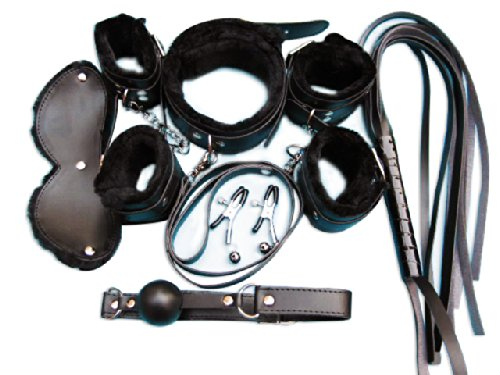 SuPoo® Under the Bed Restraint Sexy Black Bondage Kit Under the Bed S&m Restraints 7pcs Set A by SuPoo®