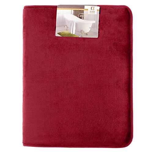 Clara Clark Bath Mat Bathroom Rug - Absorbent Memory Foam Bath Rugs - Non-Slip, Thick, Cozy Velvet Feel Microfiber Bathrug, Plush Shower, Toilet Floor Bathmats Carpet - Red - Large Size 20