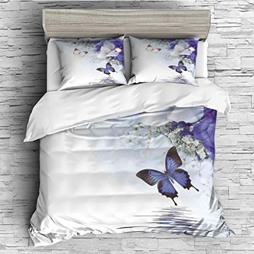 ver 2 Pillow Shams)/All Seasons/Home Comforter Bedding Sets Duvet Cover Sets for Adult Kids/Queen/Butterflies,Butterflies Sailing on Sea with Major Colorful Iris Flowers Fairy Magi ()
