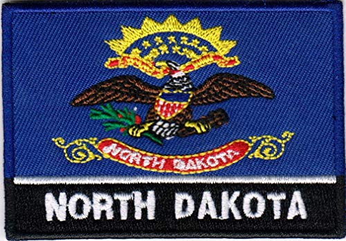 USA State United States Iron on Flag Patch Heat Seal Multicolor Applique (North Dakota ND)