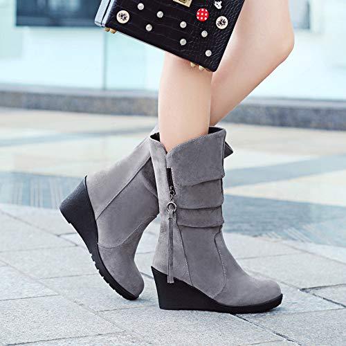 ronde femmes pour fond fermeture imperméables plat et avec Abcone Chaussures femme femme hiver bottes glissière à pour x8OUB