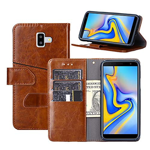 check out c8873 f7767 Galaxy J6 Plus 2018 Case, YEEGG Flip Cover Leather, Phone Wallet Case for  Samsung Galaxy J6 Prime 2018 (Brown)