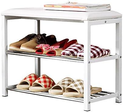 YNN シートクッション、スチール、ホワイト、60長さ×30幅×48.5高さcmの3層収納靴用ラック/ベンチ