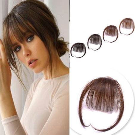 Youngsee Handmade Clip on Flat Bangs with Temple Human Hair