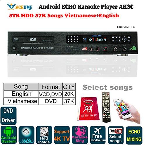 5TB HDD 57K Vietnamese,English Songs,Android Cloud Karaoke Jukebox/Player, Free Cloud Download,Microphone Port, ECHO Mixing, DVD Driver,Watch TV,KODI,YouTube Songs Sing ()