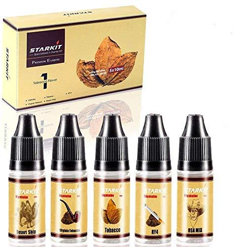 STARKIT® E Liquids 5 X 10ml,Tabak Geschmack für E Zigarette Starter Set SMOK E Shisha, E liquid Aroma PG70% VG30% 0mg…