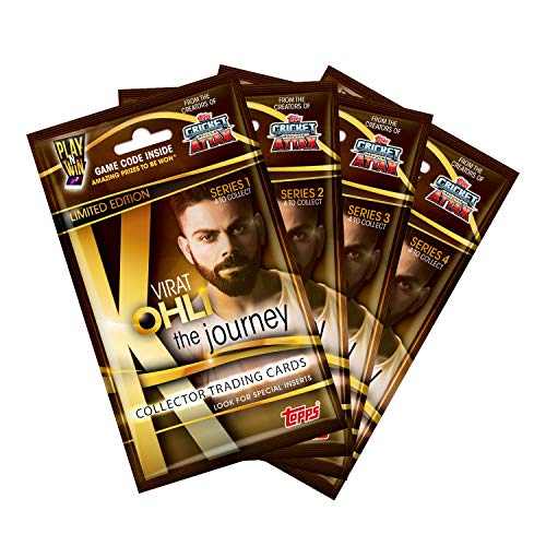 Topps India VIRAT KOHLI The Journey – Collector Trading Card Game, Series 1,2,3 and 4 (Pack of 4)
