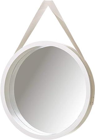 Medida: 40x4x40 CM, Material: polipropileno, Espejo blanco moderno para pared .