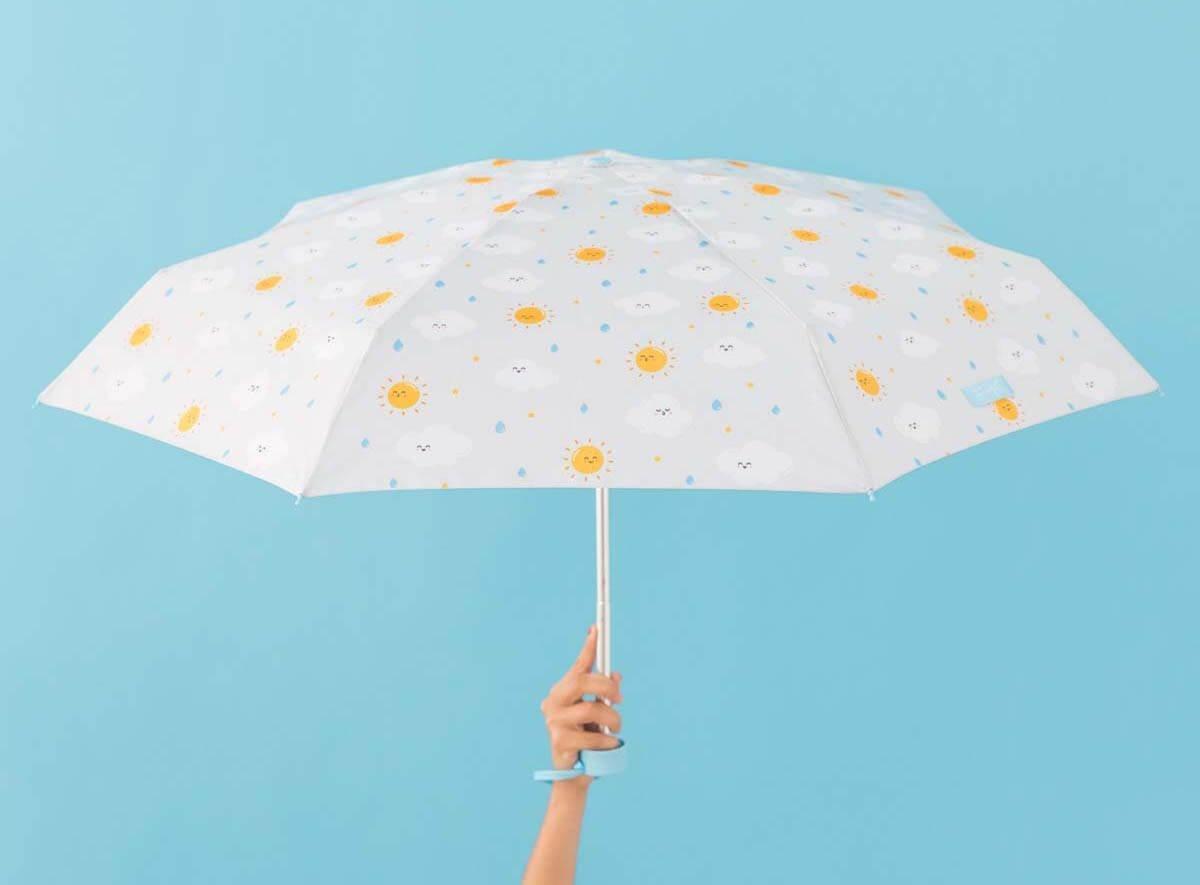 Paraguas plegable Mr. Wonderful Estampado soles-nubes Gris claro: Amazon.es: Equipaje