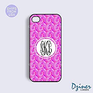 Personalized Your Initials iPhone 4 4s Case - Pink Wave Pattern iPhone Cover by icecream design