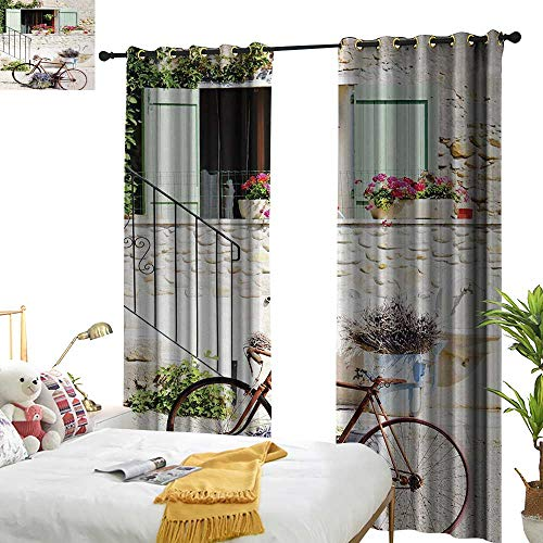 (Bicycle Insulated Sunshade Curtain European French Mediterranean Rural Stone House with Bike Countryside Provence Day Photo Home Garden Bedroom Outdoor Indoor Wall Decorations 84