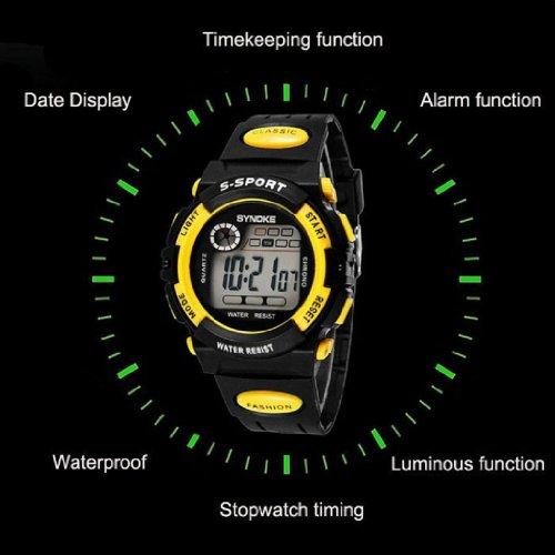 "Susenstore Waterproof Cool Mens Boy""s Digital LED Quartz Alarm Date Sports Wrist Watch (Yellow)"