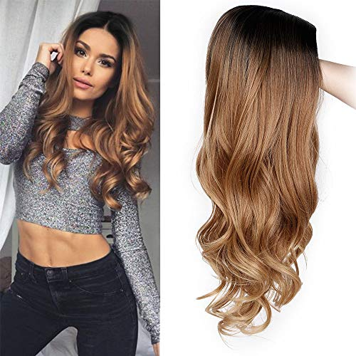 (ForQueens Ombre Wig for Women Long Brown Curly Synthetic Party Wigs Middle Part Wavy wigs Heat Resistant)