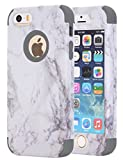 iphone 5 case grey and light blue - iPhone 5S Case, iPhone 5 Case,iPhone SE Case, KAMII White Marble Stone Pattern Shockproof 2in1 Dual Layer TPU Bumper Hard PC Hybrid Defender Armor Case Cover for Apple iPhone 5 5S SE (Grey)