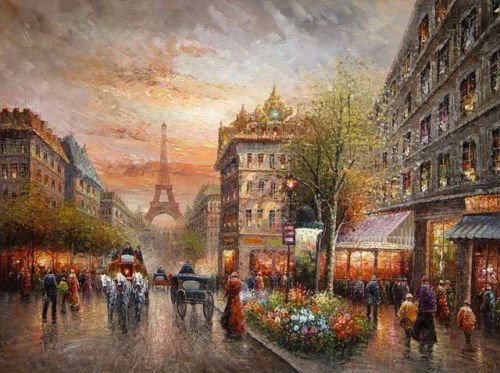(100% Hand Painted impressionism art Paris street scene & Eiffel Tower Canvas Oil Painting for Home Wall Art by Well Known Artist, Framed, Ready to Hang)