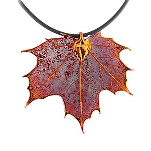 Irridescent Copper-Plated Sugar Maple Leaf Pendant Rubber Cord Necklace, 18